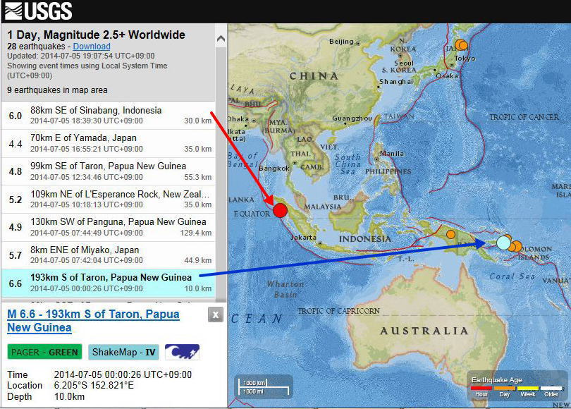 ニューギニア 地震 パプア